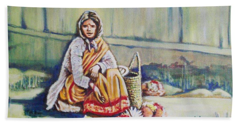 Usha Bath Sheet featuring the painting Temple-side Vendor by Usha Shantharam
