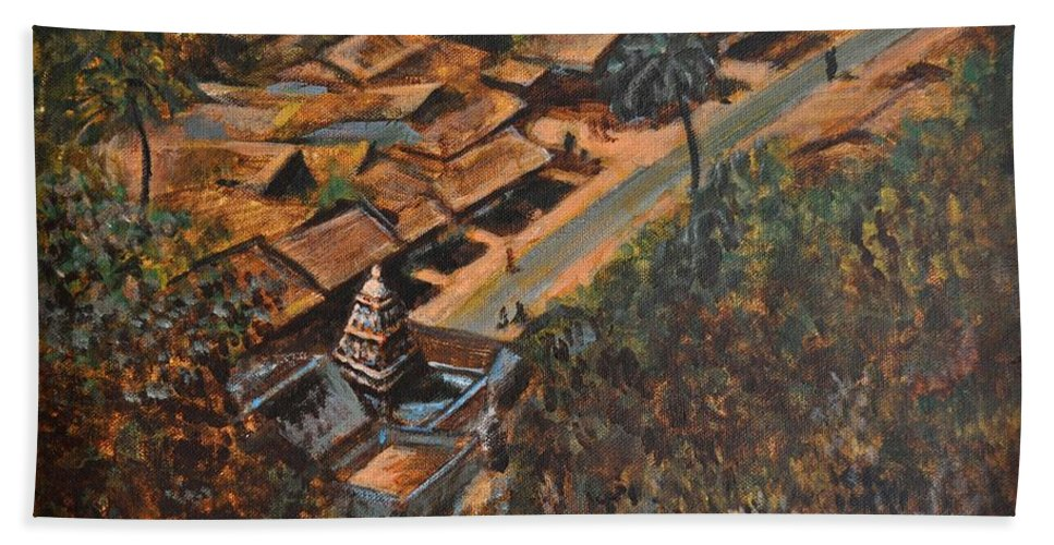 Temple Hand Towel featuring the painting Temple Town by Usha Shantharam