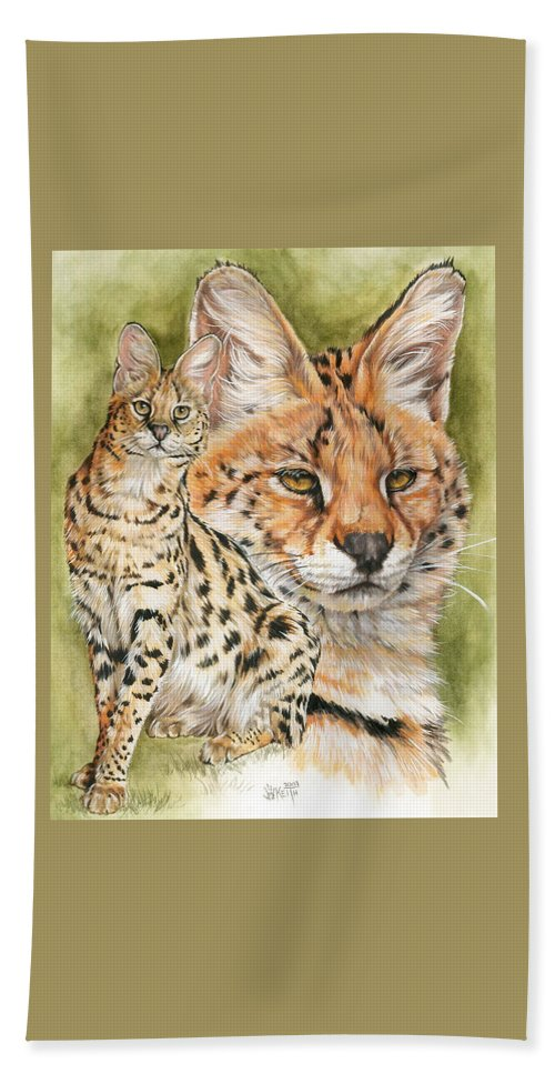 Serval Bath Sheet featuring the mixed media Tempo by Barbara Keith