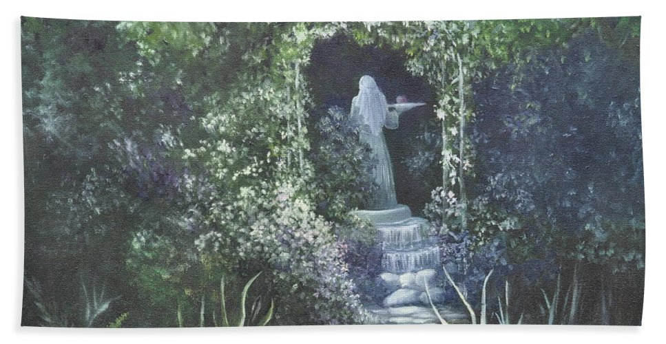 Mystery Hand Towel featuring the painting Temptation Coming. by Penny Neimiller