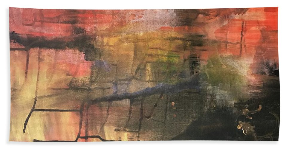 Abstract Bath Sheet featuring the painting Temptation Embodied by Katy Flach