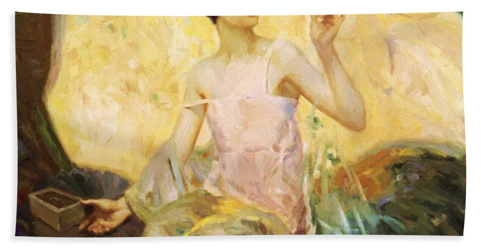 Tempting Hand Towel featuring the painting Tempting Sweets 1924 by Reid Robert Lewis