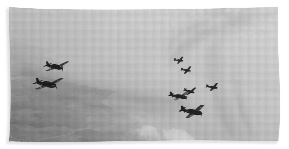 Plane Bath Sheet featuring the photograph Ten Wildcats In Flight Over The Coast by American School