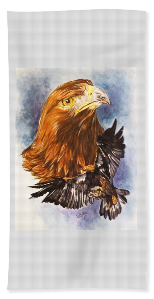 Eagle Hand Towel featuring the mixed media Tenacity by Barbara Keith