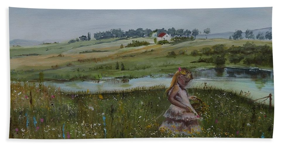Impression Bath Towel featuring the painting Tender Blossom - Lmj by Ruth Kamenev