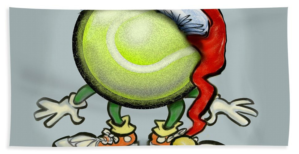 Tennis Hand Towel featuring the greeting card Tennis Christmas by Kevin Middleton