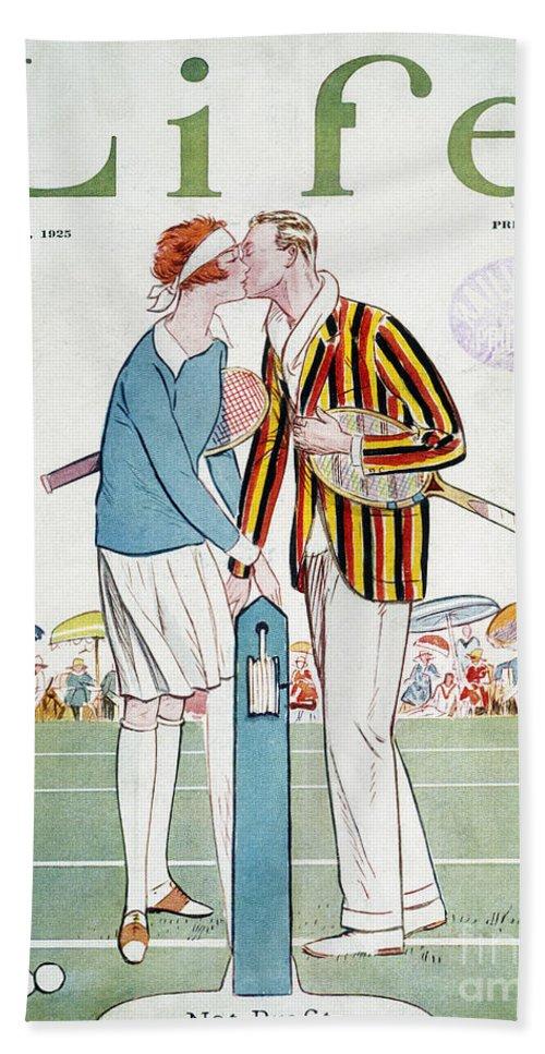 1925 Bath Sheet featuring the photograph Tennis Court Romance, 1925 by Granger