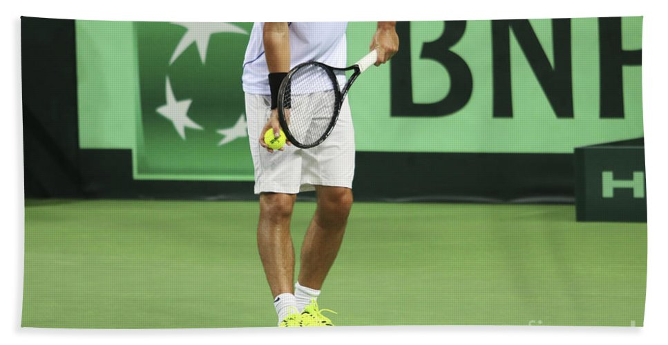 Player Bath Sheet featuring the photograph Tennis Player by Lilach Weiss
