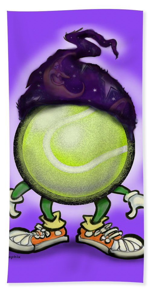 Tennis Bath Sheet featuring the digital art Tennis Wiz by Kevin Middleton