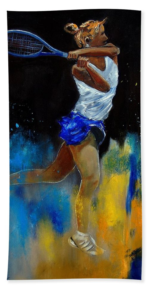 Sports Bath Towel featuring the painting Tenniswoman 57 by Pol Ledent