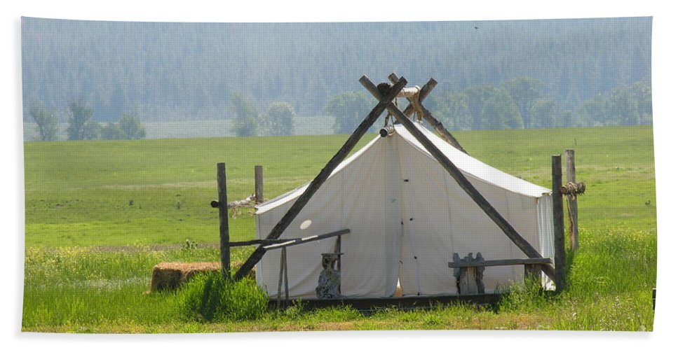 Montana Hand Towel featuring the photograph Tent Living Montana 2010 by Diane Greco-Lesser