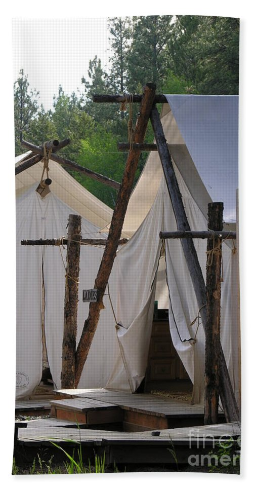 Montana Bath Sheet featuring the photograph Tent Living Montana by Diane Greco-Lesser