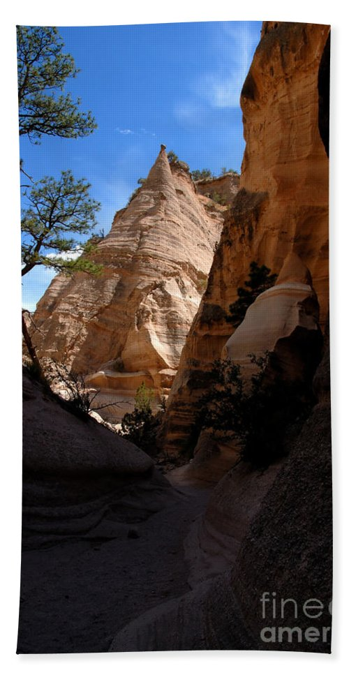 Tent Rocks Wilderness New Mexico Bath Sheet featuring the photograph Tent Rocks Canyon by David Lee Thompson