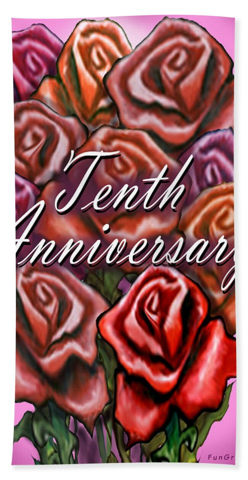 Tenth Hand Towel featuring the greeting card Tenth Anniversary by Kevin Middleton