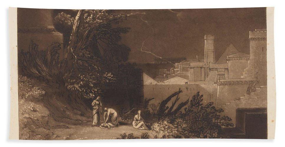 Hand Towel featuring the drawing Tenth Plague Of Egypt by Joseph Mallord William Turner And William Say