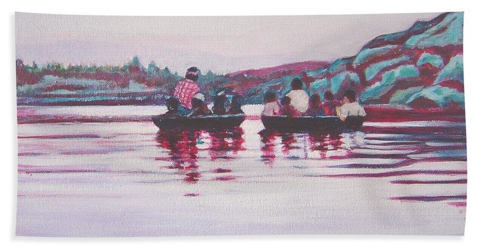 Teppa Bath Towel featuring the painting Teppa Ride by Usha Shantharam