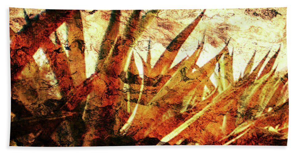 Agave Paintings Bath Sheet featuring the digital art T E Q U I L A  . F I E L D by J - O  N  E