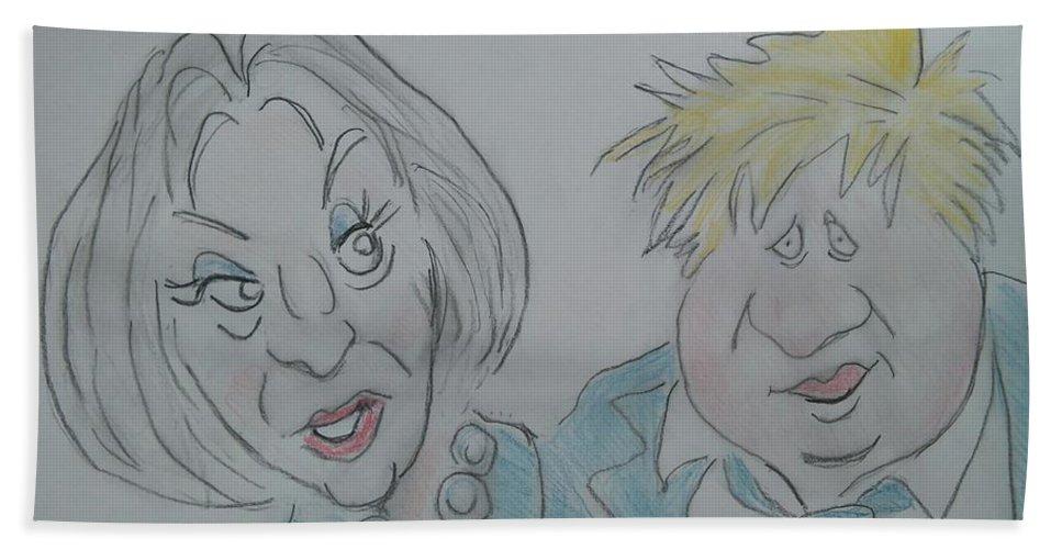 Teresa And Boris Bath Sheet featuring the drawing Teresa And Boris by Paul Blackmore