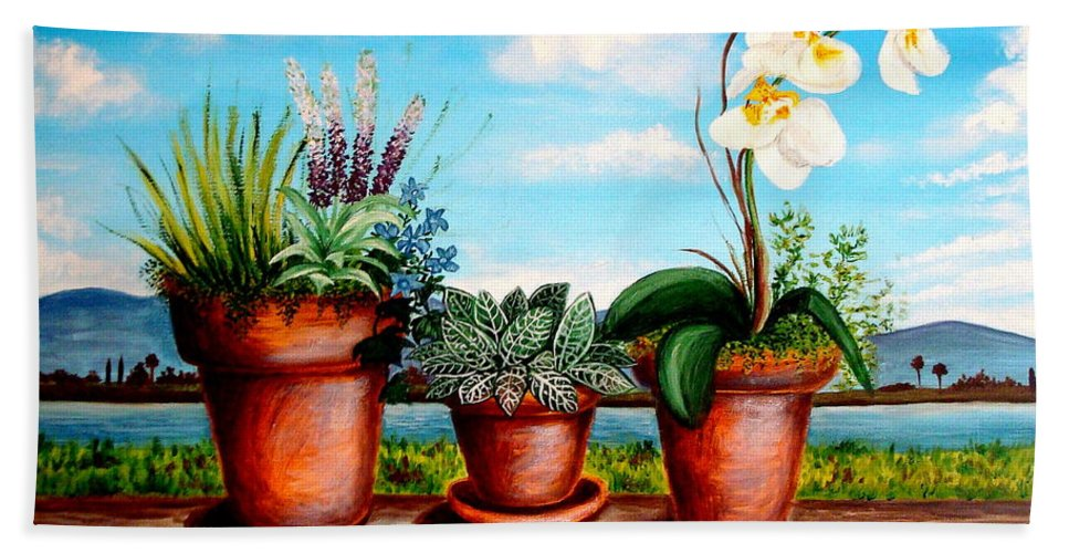 Landscape Hand Towel featuring the painting Terra Cotta Blues by Elizabeth Robinette Tyndall