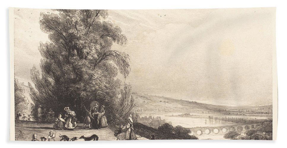 Hand Towel featuring the drawing Terrace Of St. Cloud (terrasse De St. Cloud) by Paul Huet