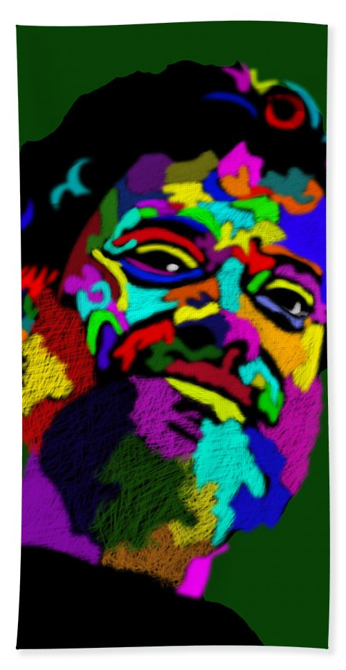 Terrence Mckenna Hand Towel featuring the painting Terrence Mckenna Portrait by Stephen Humphries