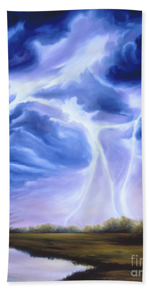 Marsh Bath Towel featuring the painting Tesla by James Christopher Hill