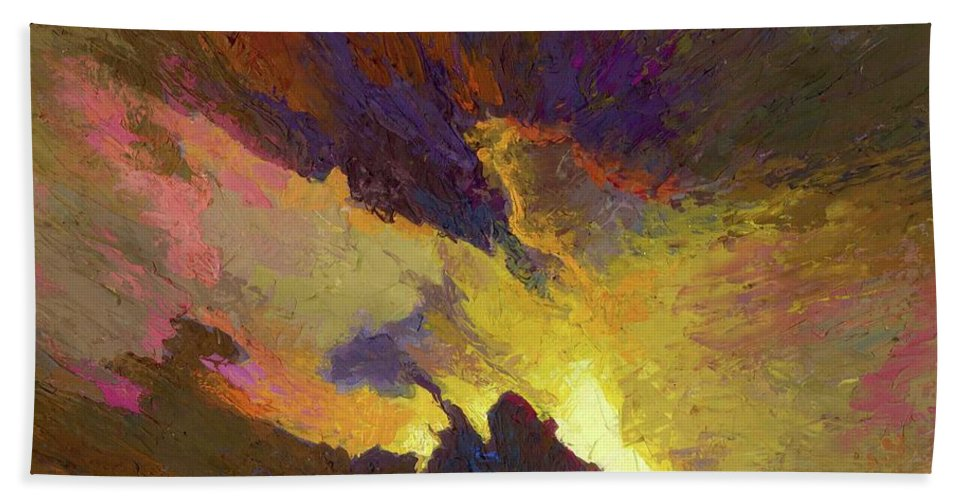 Paintings Hand Towel featuring the painting Tesseract by T S Mohamed Ali