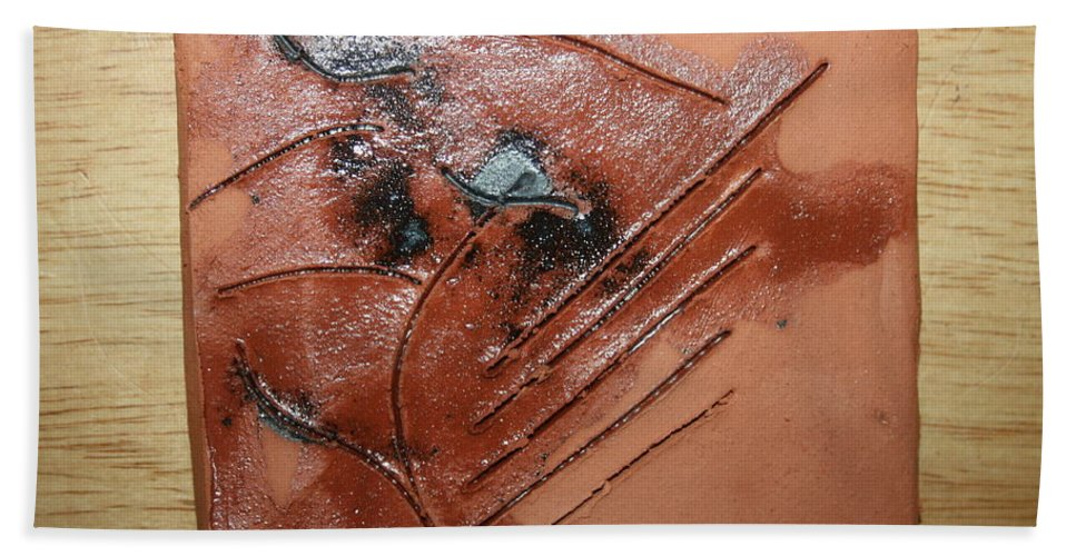 Jesus Hand Towel featuring the ceramic art Test - Tile by Gloria Ssali