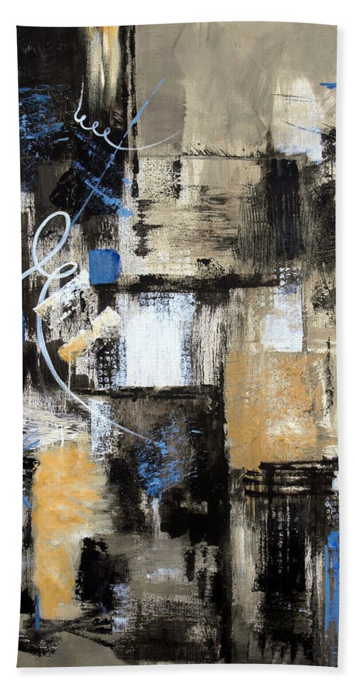 Abstract Hand Towel featuring the painting Testing The Waters by Ruth Palmer