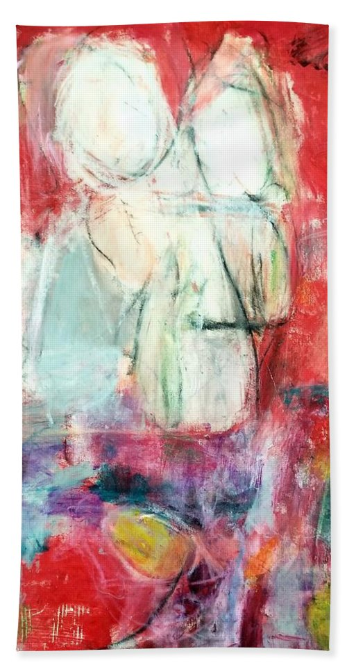 Red Bath Towel featuring the painting Tete-a-tete by Patricia Byron
