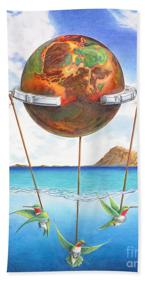 Surreal Hand Towel featuring the painting Tethered Sphere by Melissa A Benson