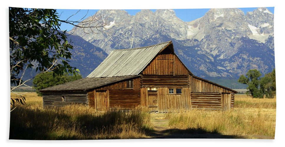Grand Teton National Park Bath Sheet featuring the photograph Teton Barn 4 by Marty Koch