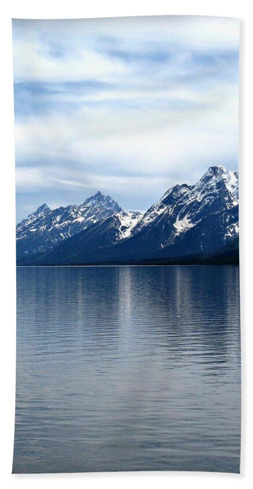 Grand Teton Bath Sheet featuring the photograph Teton Reflection by Joan Minchak