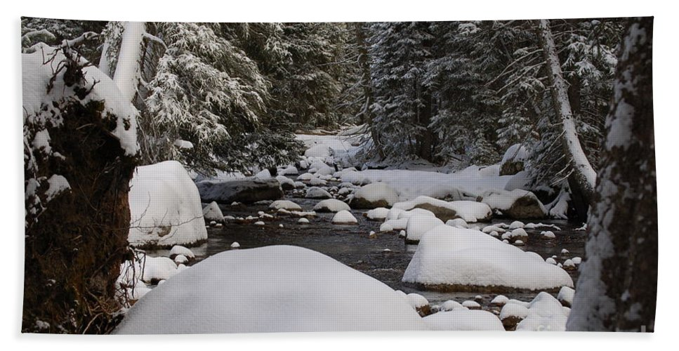 Snow Bath Sheet featuring the photograph Teton River In Winter by Lucy Bounds