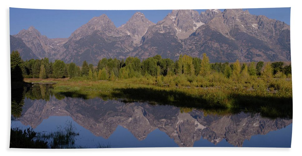 Wyoming Hand Towel featuring the photograph Teton Sunrise 2 by Tracy Knauer