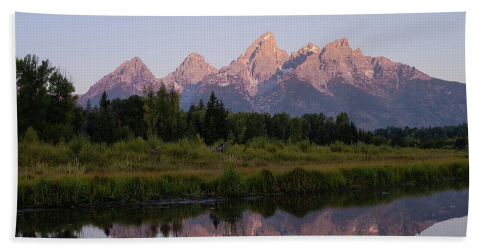 Wyoming Hand Towel featuring the photograph Teton Sunrise by Tracy Knauer
