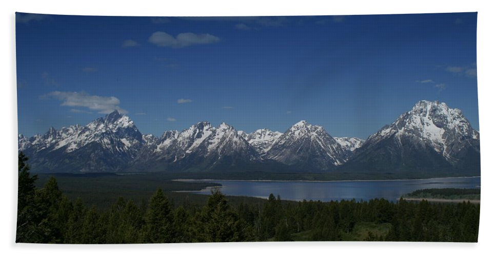 Mountains Bath Sheet featuring the photograph Tetons In Blue by Shari Jardina