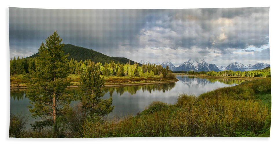 Mountains Grand Tetons National Park Snow Capped Water Lake Aspens Landscape Bath Sheet featuring the photograph Tetons In The Distance by Shari Jardina
