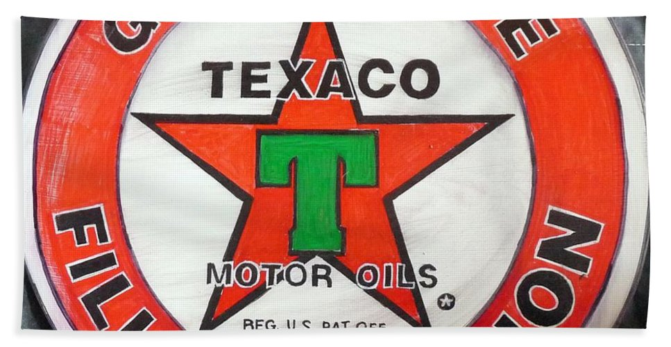 Texaco Bath Sheet featuring the painting Texaco Sign by Richard Le Page