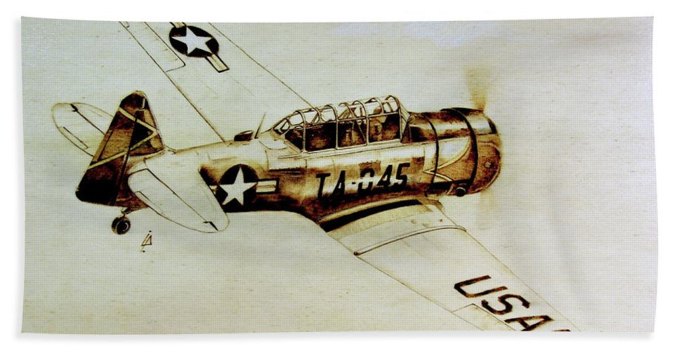 Texan T6 Bath Sheet featuring the pyrography Texan T6 by Ilaria Andreucci