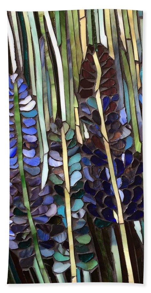 Floral Mosaic-bluebonnets Hand Towel featuring the glass art Texas Bluebonnets by Barbara Garstecki