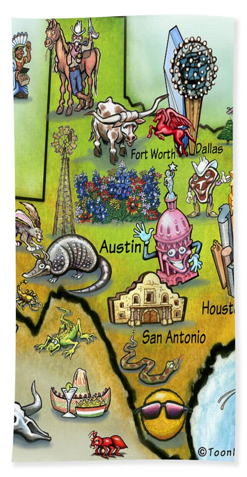 Texas Hand Towel featuring the digital art Texas Cartoon Map by Kevin Middleton