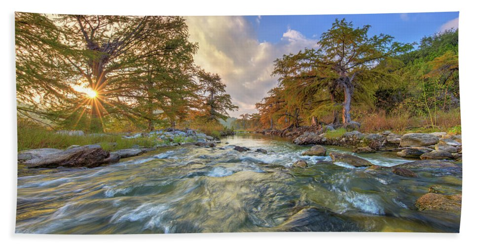 Texas Hill Country Hand Towel featuring the photograph Texas Hill Country Pedernales Sunrise 1014-3 by Rob Greebon