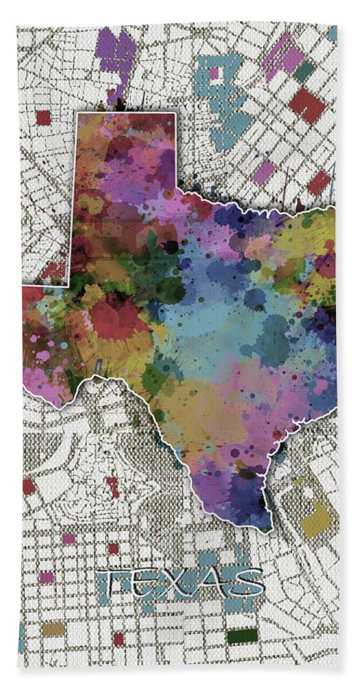 Texas Hand Towel featuring the digital art Texas Map Color Splatter 6 by Bekim M