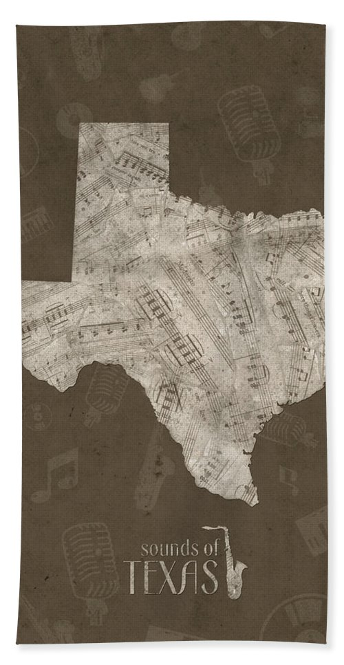 Texas Hand Towel featuring the digital art Texas Map Music Notes 3 by Bekim M