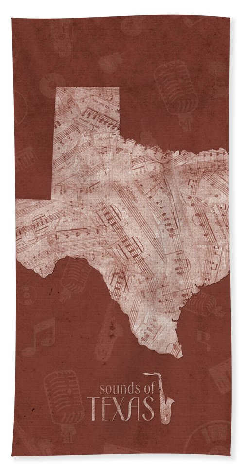 Texas Hand Towel featuring the digital art Texas Map Music Notes 4 by Bekim M