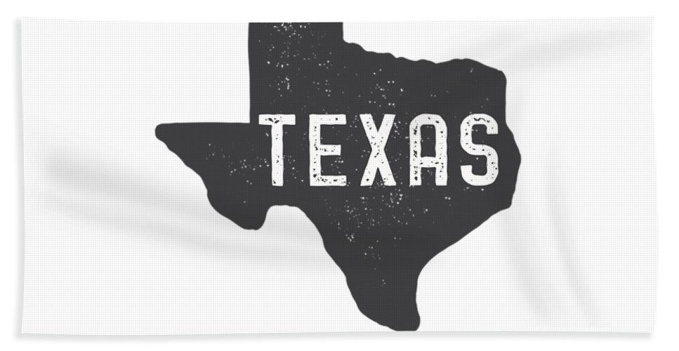 Texas Bath Towel featuring the digital art Texas Map Tee by Edward Fielding