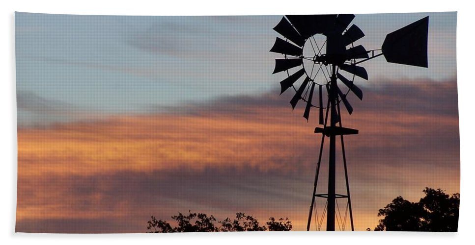 Windmill Hand Towel featuring the photograph Texas Sunrise by Gale Cochran-Smith