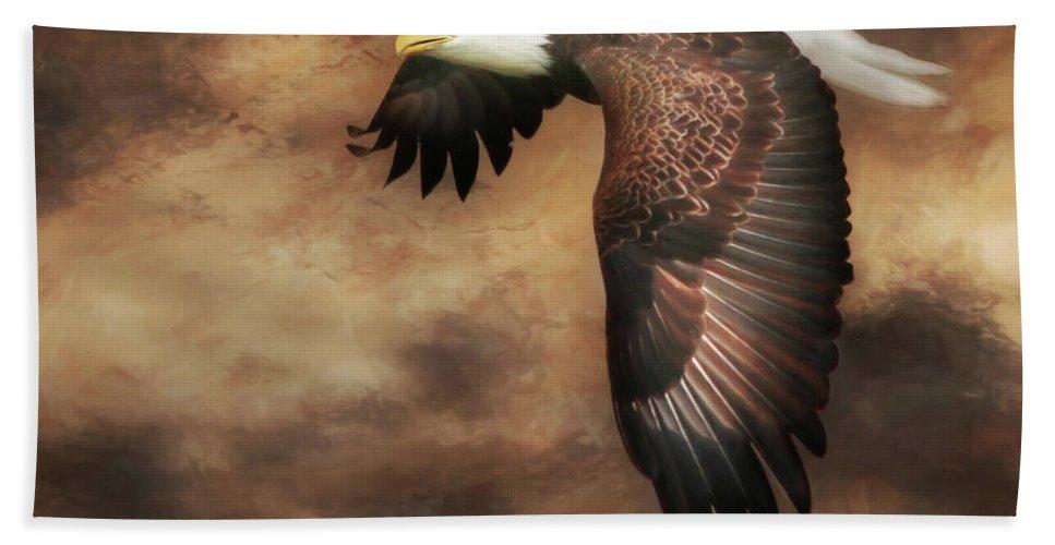Eagle Bath Sheet featuring the photograph Textured Eagle 2 by Lori Deiter