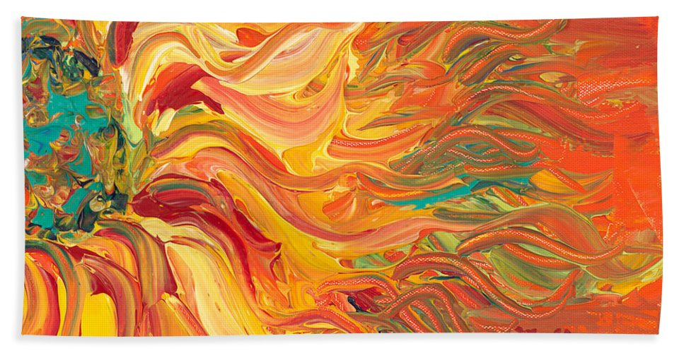Sunjflower Bath Sheet featuring the painting Textured Fire Sunflower by Nadine Rippelmeyer